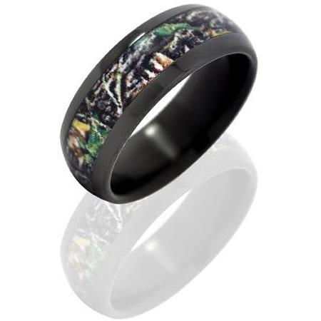 8mm Black Zirconium Ring Mossy Oak New Break Up Camo Inlay