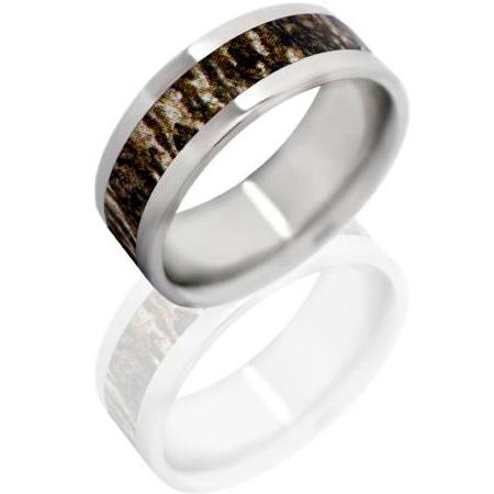 8mm Titanium Ring with Mossy Oak Bottom Land Camo Inlay