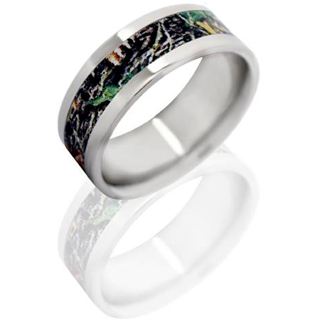 8mm Titanium Ring with Mossy Oak New Break Up Camo Inlay