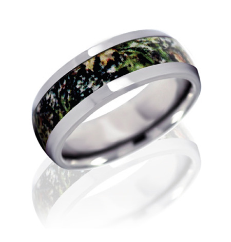 8mm Domed Titanium Ring with Mossy Oak New Break Up Camo Inlay