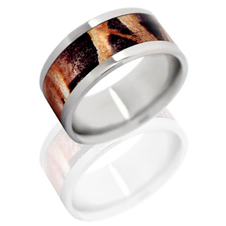 10mm Titanium Ring with Mossy Oak Shadow Grass Camo Inlay