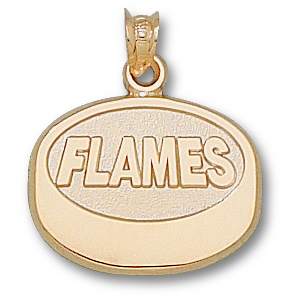 Calgary Flames Puck Pendant 5/8in 14k Yellow Gold