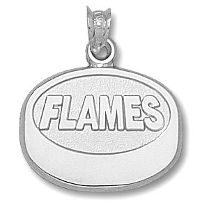 Calgary Flames 5/8in Puck Pendant - Sterling Silver