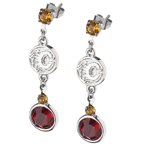 Calgary Flames Crystal Logo Earrings