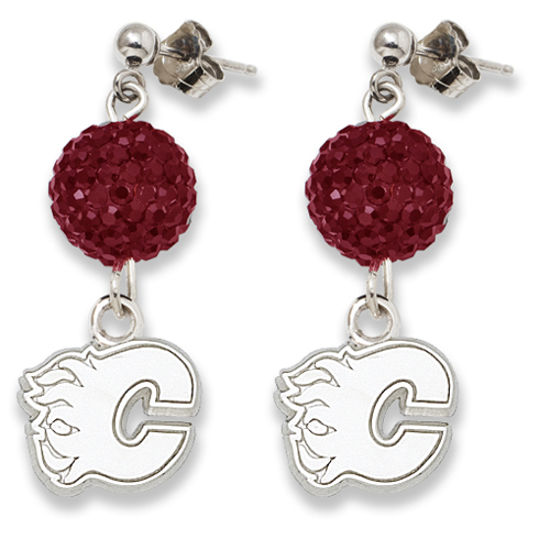 Sterling Silver Calgary Flames Crystal Ovation Earrings