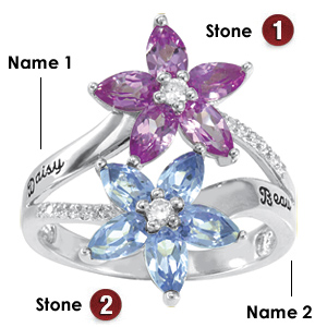 14kt White Gold Floret Promise Ring