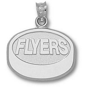 Philadelphia Flyers 5/8in Sterling Silver Puck Pendant
