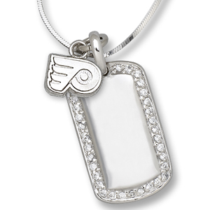 Sterling Silver Philadelphia Flyers Mini Dog Tag Necklace
