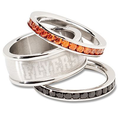 Philadelphia Flyers Team Logo Crystal Stacked Ring Set