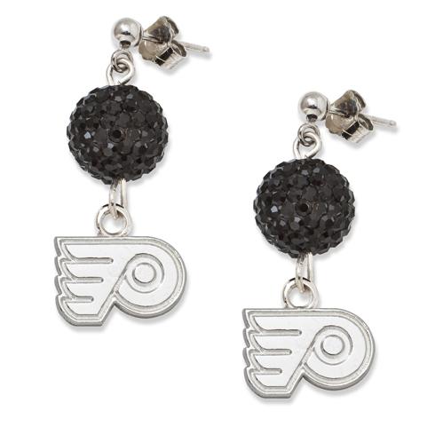 Sterling Silver Philadelphia Flyers Crystal Ovation Earrings