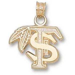 FSU 1/2in 14k Feather Logo Pendant