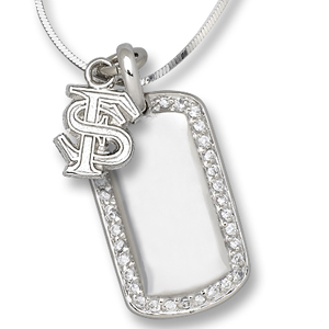 Sterling Silver Florida State University Mini Dog Tag Necklace