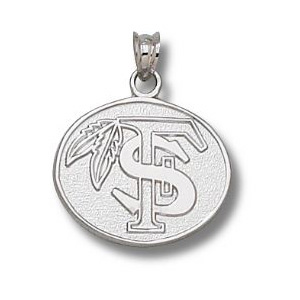 Sterling Silver 5/8in FSU Feather Oval Pendant