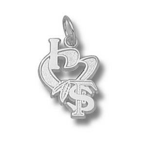 Florida State Seminoles 1/2in Sterling Silver I Love FS Pendant