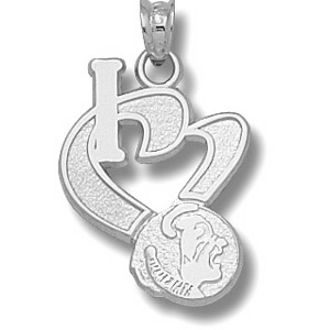 Florida State Seminoles 3/4in Sterling Silver I Love Pendant