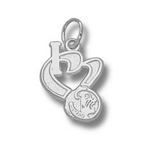 Florida State Seminoles 1/2in Sterling Silver I Love Pendant