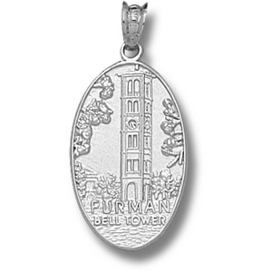 Furman Paladins 5/8in Sterling Silver Bell Tower Pendant