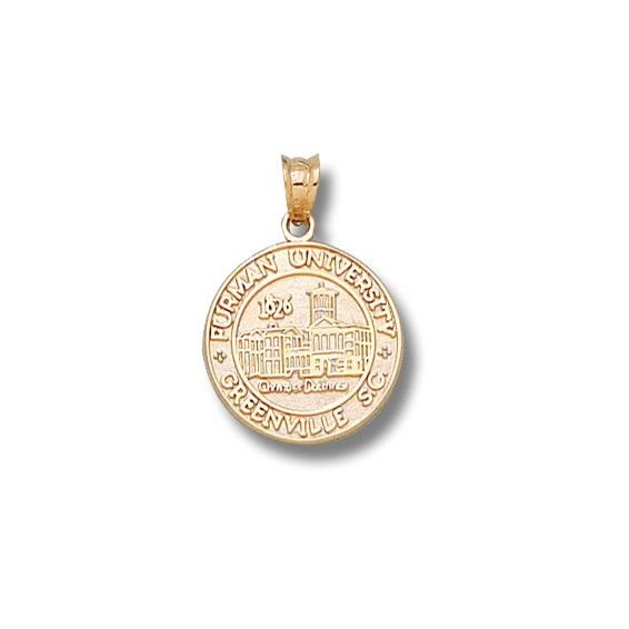14kt Yellow Gold 1/2in Furman University Seal Charm