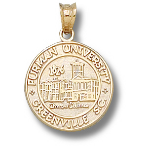 10kt Yellow Gold 1/2in Furman University Seal Charm