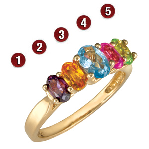 Garland Oval Stone Mother's Ring