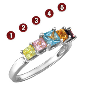 Garland Princess Stone Mother's Ring Sterling Silver