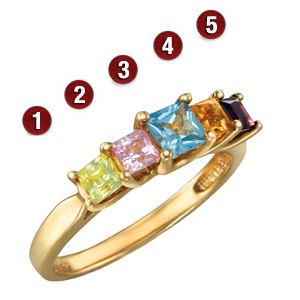 Gold-plated Sterling Silver Garland Ring with Princess Cut Stones