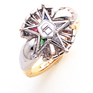 Two Tone Eastern Star Ring - 10k Gold