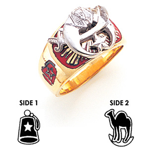 14kt Yellow Gold Shrine Ring with Red Enamel