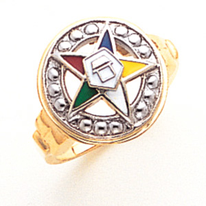 Eastern Star Enamel Ring - 10k Gold