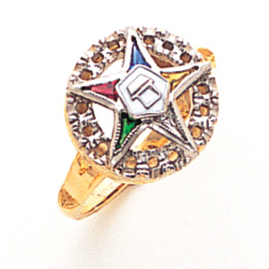 Two Tone Eastern Star Ring - 14k Gold