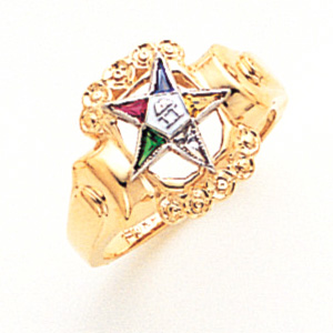 Eastern Star Enamel Ring - 14k Gold