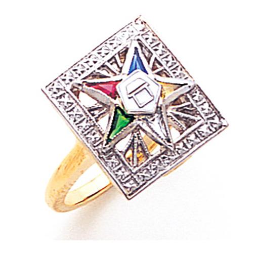 Rectangular Eastern Star Ring - 14k Gold