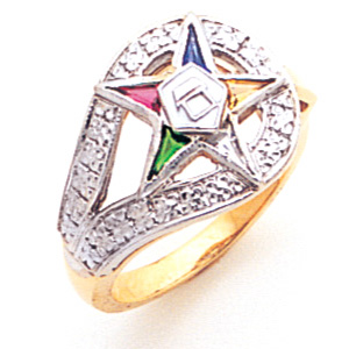 Eastern Star Enamel Ring - 14k Yellow Gold