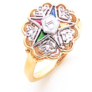 Hearts Eastern Star Ring - 14k Gold