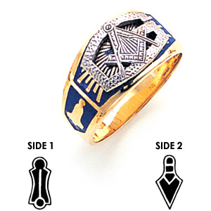 10kt Yellow Gold Masonic Ring Oversized G and Blue Enamel