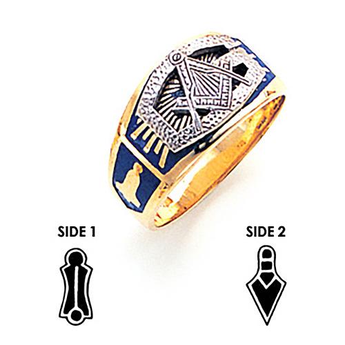 14kt Yellow Gold Masonic Ring Oversized G and Blue Enamel