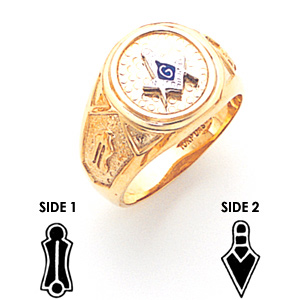 14kt Yellow Gold Masonic Ring with Round Top