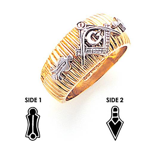 Carved Blue Lodge Ring - 14k Gold