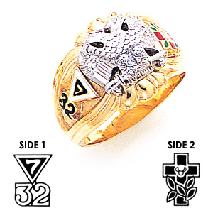 10kt Yellow Gold Fancy Scottish Rite Ring