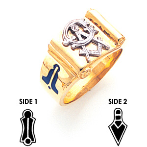 Scroll Blue Lodge Ring - 10k Gold