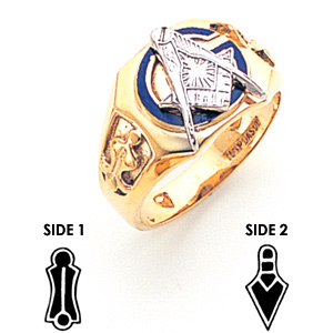 Octagonal Blue Lodge Ring - 10k Gold