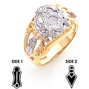 10kt Two-tone Gold Masonic Ring with Open Scroll Design
