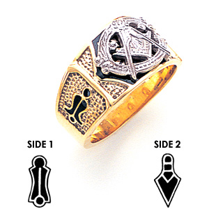 10kt Yellow Gold Masonic Ring with Pebble Texture