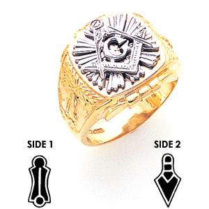 10kt Two-tone Gold Jumbo Masonic Ring with Starburst Design