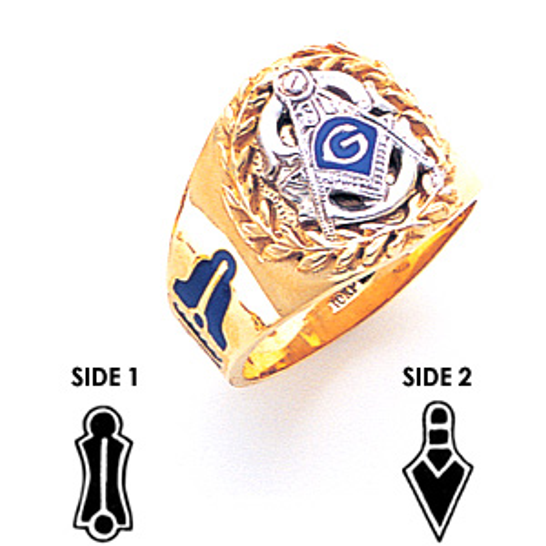 Laurel Leaf Blue Lodge Ring - 14k Gold