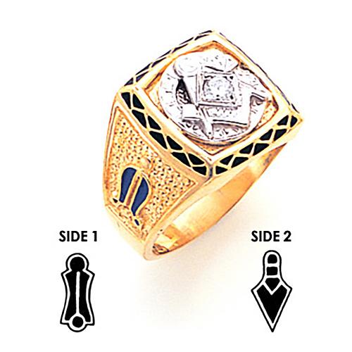 1/10 ct Diamond Jumbo Blue Lodge Ring - 14k Gold
