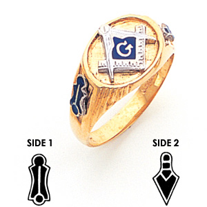 10kt Yellow Gold Oval Narrow Masonic Ring