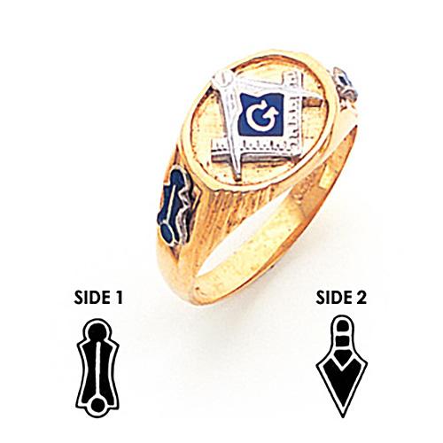 10kt Yellow Gold Oval Narrow Masonic Ring