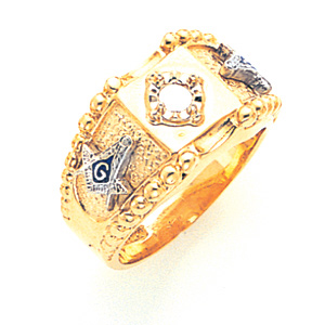 14kt Yellow Gold Diamond Goldline Beaded Masonic Ring