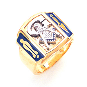 10kt Yellow Gold Jumbo Masonic Ring with Blue Enamel Plumb Bob and Trowel